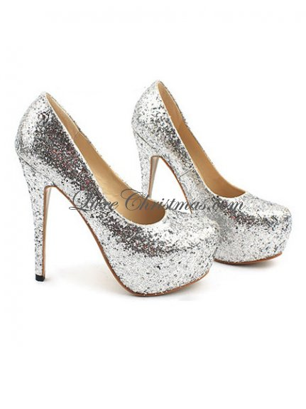 Cheap silver glitter round toe high heels platform