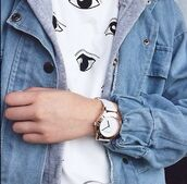 denim jacket,printed t-shirt,eyes,anime eyes,shirt,white t-shirt