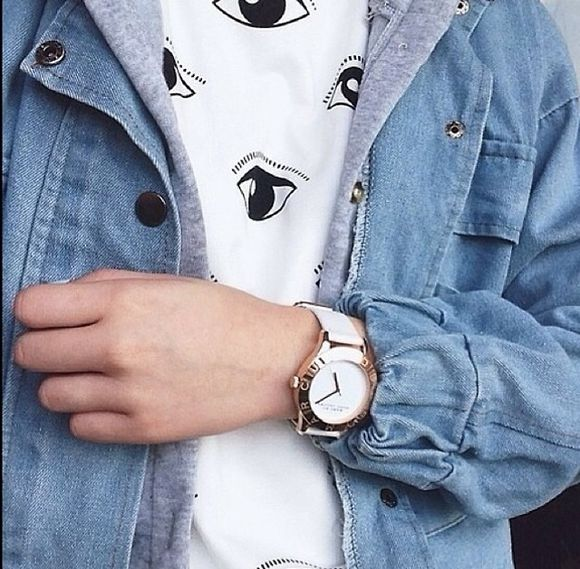 hipster denim jacket denim jacket indie shirt eye eyes eye print eye print shirt jewels t-shirt tumblr black white eyeball girl fashion sweater eyee white black denim watch