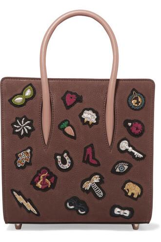 embellished leather brown bag