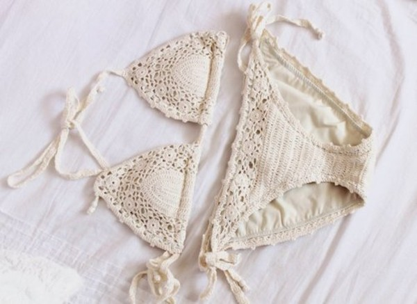swimwear crochet bikini halter neck string white swimwear suit bag