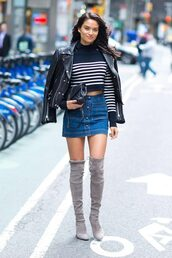 skirt,shanina shaik,sweater,stripes,striped sweater,over the knee boots,grey,jacket,model off-duty,streetstyle,fall outfits,cropped sweater,crop tops,mini skirt,denim skirt,shoes