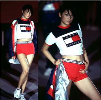 top shorts tommy hilfiger crop tops red shorts 1990 90s style t-shirt tommy hilfiger crop top cropped t-shirt