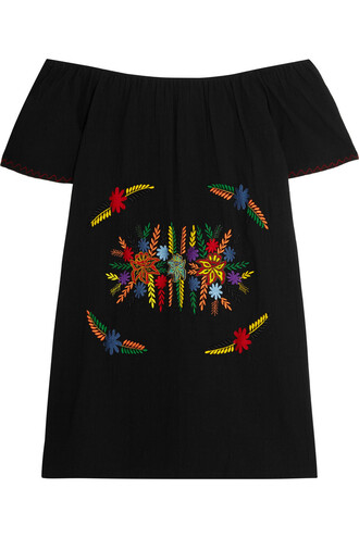 dress mini dress mini embroidered cotton black