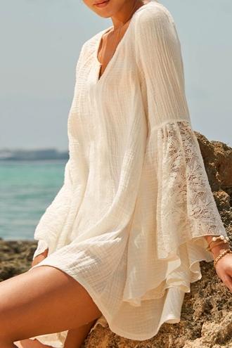 dress cover up lace lace cover up white white lace v neck white cover up beach beach dress summer summer dress beachwear summer outfits sun zaful boho boho dress bohemian