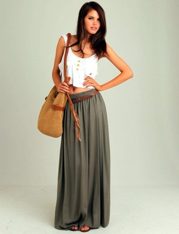 KrispOutlet Khaki Long Maxi Skirt With Tan Belt - Outlet from ...