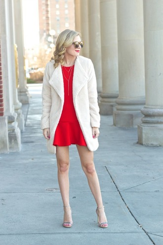 life with emily blogger sunglasses white coat red dress sandals