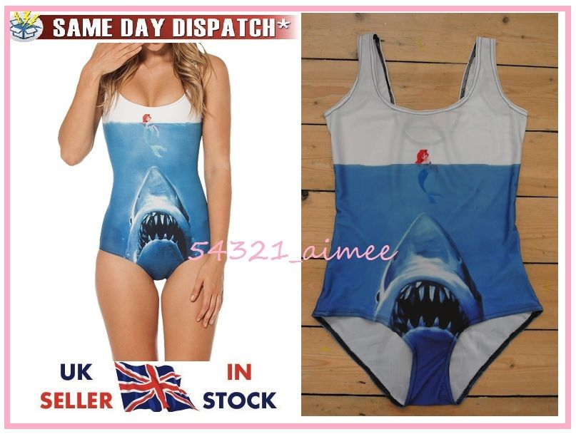Shark vs mermaid swimsuit swimming costume bodysuit milk black little jaws ariel