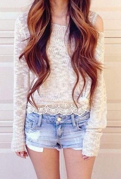 girly long sleeve off the shoulder sweater off the shoulder lace sweater lacey lace shirt white sweater winter outfits short shorts cutoff shorts pale pastel sweater sheer sheer sweater long sleeve sweater white lace sweater brown long hair skinny model ootd fashionable trendsetting trendsetter new trend girl teen