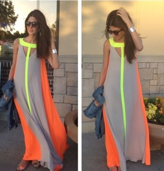 nude neon maxi orange bcbg dress