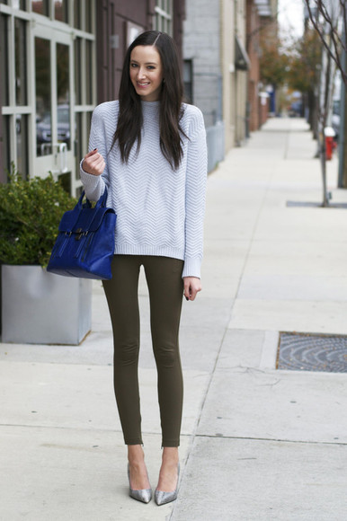 jewels skinny pants jeans bag the glam files blogger grey sweater blue
