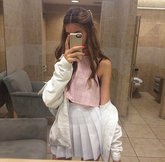 outfit cute skirt top jacket pink top pleated skirt white skirt aesthetic american apparel