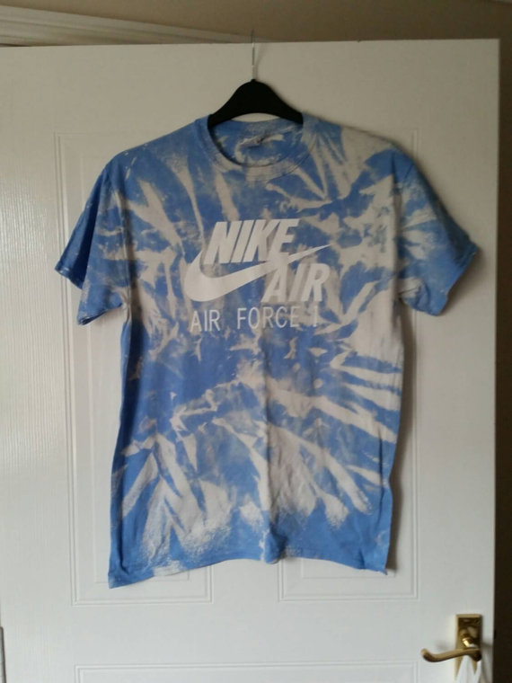 Diy customised nike air force 1 tie dye t/shirt top unisex medium beachwear festival
