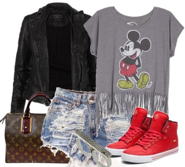 shirt crop tops mickey mouse jacket short shorts ripped shorts sneackers red louis vuitton bag summer spring 90s style shoes jewels