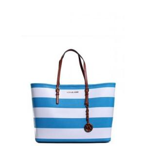 MICHAEL Michael Kors Blue and White Jet Set Travel Tote - Sale