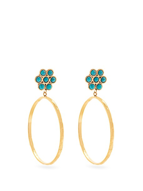 Sylvia Toledano earrings hoop earrings gold blue jewels