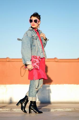 let's get flashy blogger jeans shoes jacket dress sunglasses bag