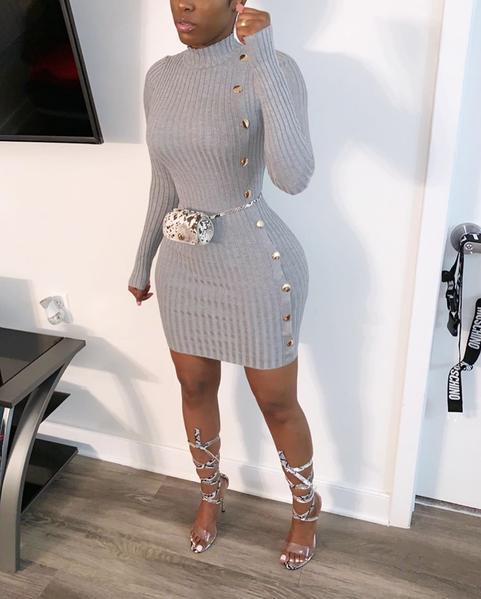 Bella Button Bodycon Dress
