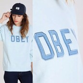 sweater,ontheblock,ontheblockshop,streetwear,crewneck,obey,obey womens,denim,applique,baby blue,blue,light blue