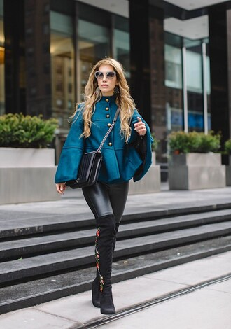 thefashionstatement blogger leggings shoes bag sunglasses over the knee boots boots leather leggings chanel bag streetwear winter outfits cape michael kors steve madden miu miu