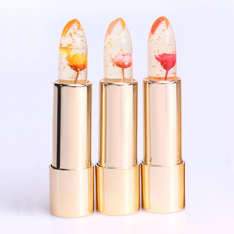 Beauty Jelly Flower Lipstick Color Changing Lip Gloss Moisturizing Long Lasting