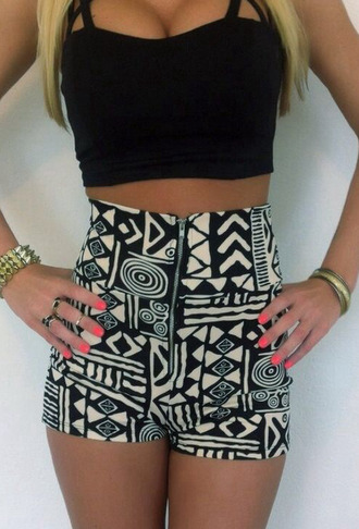aztec aztec shorts high waisted shorts front zipper clubwear night outfit top