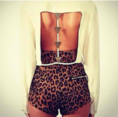 white top,backless,long sleeves,cheetah is the new black,animal print,High waisted shorts,backless top,shorts,white blose,hazzle