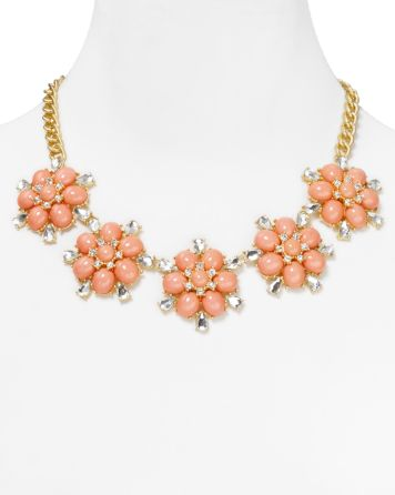 Aqua Five Station Floral Necklace, 18"