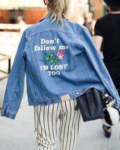jacket,denim jacket,spring jacket,quote on it,striped pants,spring outfits,roses,embroidered jacket,rose embroidered,tumblr,customized,customized jacket,blue jacket,bag,black bag,pants