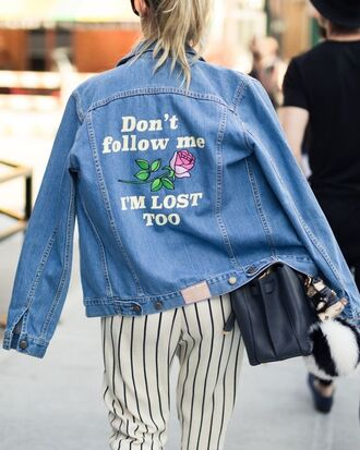 jacket denim jacket spring jacket quote on it striped pants spring outfits roses embroidered jacket rose embroidered tumblr customized customized jacket blue jacket bag black bag pants