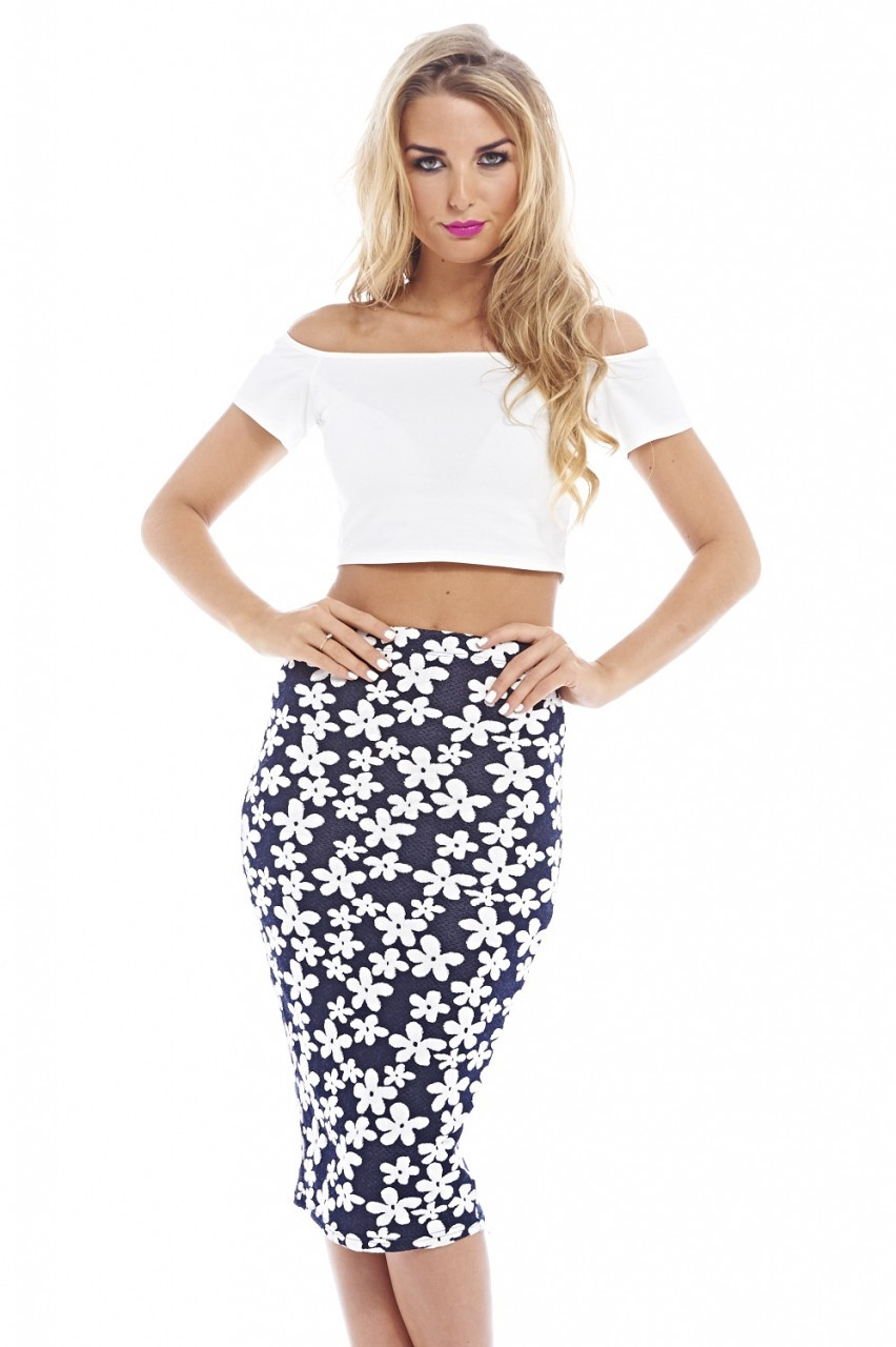 Blue & White Daisy Printed Fitted Midi Skirt