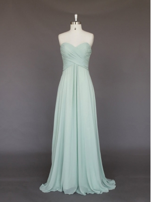 Buy Gracefull Light Green A-line Sweetheart Sweep Train Prom Dress under 200-SinoAnt.com