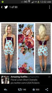 shorts,overalls,denim overalls,floral,jumpsuit