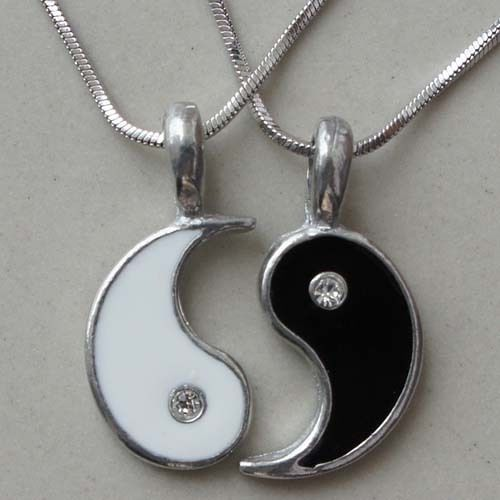 Split Yin Yang Friendship Best Friend Silver Pewter Pendant with Snake Necklace | eBay