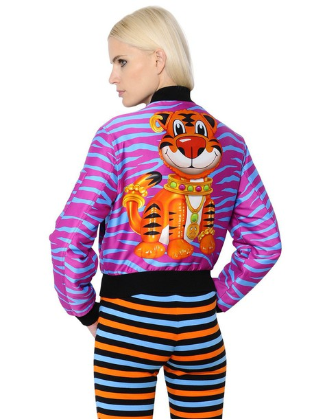 Moschino jacket bomber jacket tiger stripes print purple