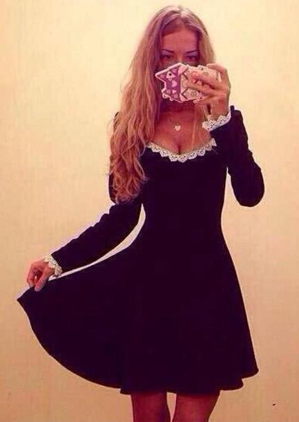 dress cute pizzo black black dress little black dress