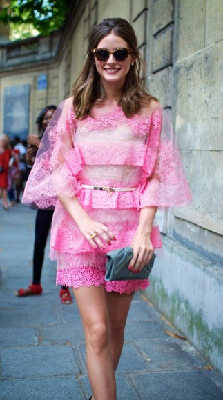 olivia palermo shorts dress shirt pink see through clear sheer
