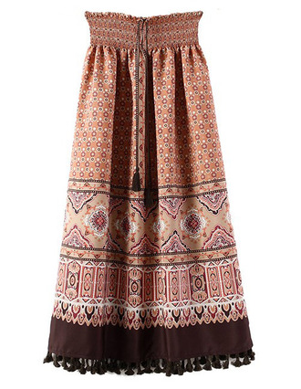 skirt boho long skirt elastic waist brenda-shop boho chic bohemian maxi skirt pattern vintage vintage soul summer festival beach