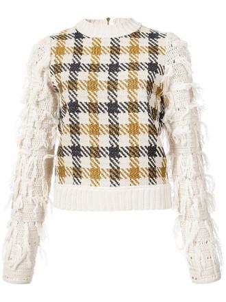 jumper women white cotton wool houndstooth sweater