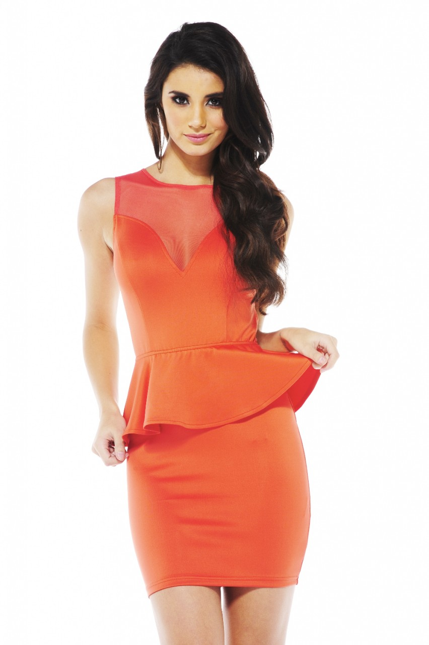Coral Party Dress - Coral Peplum Bodycon Dress with | UsTrendy