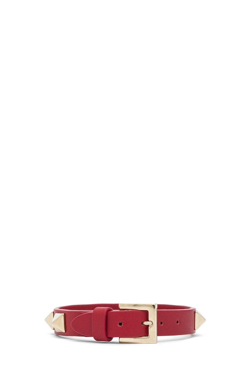 Valentino|Small Rockstud Calfskin Bracelet in Red
