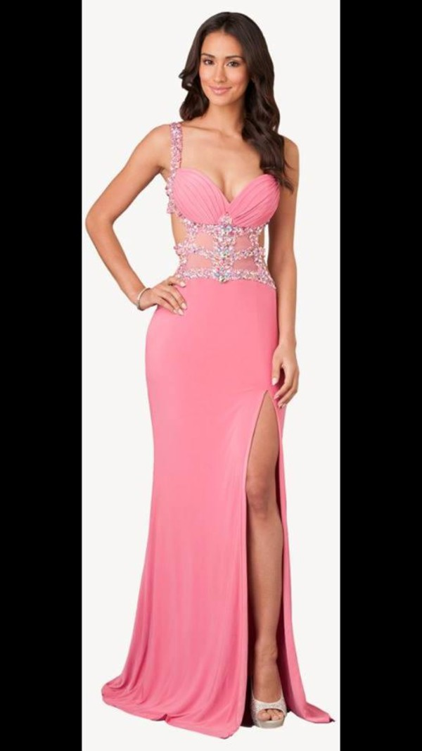 Jasz Couture 2014 Prom Dresses - Pink Chiffon & Beaded Cut Out Prom ...