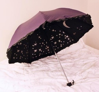 home accessory umbrella moon rain stars kawaii cute sparkles night sky umbrella