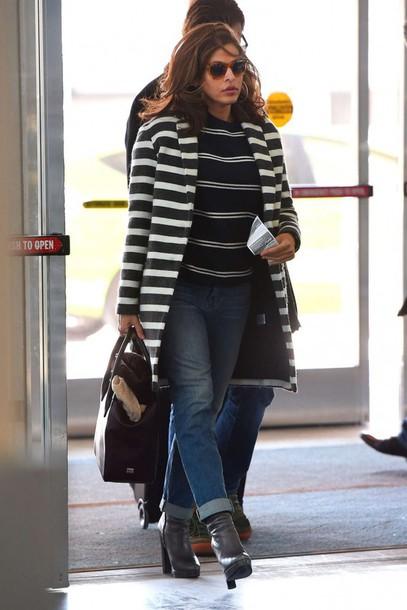 coat stripes eva mendes jeans striped coat