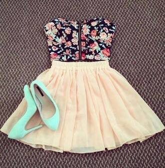 skirt bustier high heels floral top floral bustier flower bustier blue shoes blue high heels light blue high heels pink skirt