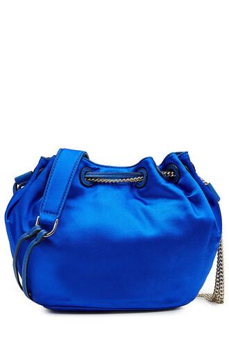 bag bucket bag satin blue