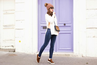 meet me in paree blogger coat sweater hat shoes