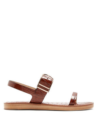 sandals leather sandals leather crocodile dark brown shoes