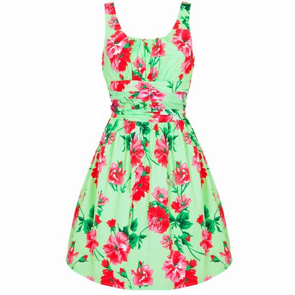 leaf dress green pink flowers flowers floral floral print dress green leaf green dress red dress pink dress floral dress red flowers