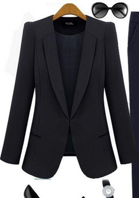 Women's lapel no button long sleeve blazers online
